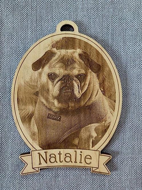 Custom Pet Portrait Christmas Ornaments Engraved in Wood