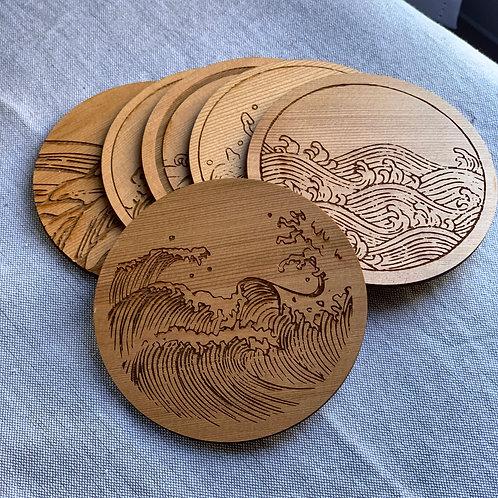 "Japanese Wave Art Coaster Set of 6 in Cedar; 4"" Round"