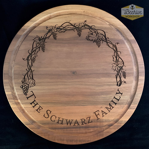 Round Solid Walnut Serving Board