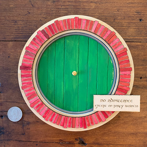 Bilbo's Door as a Handmade Wall Hanging - laser cut and hand painted wall decor