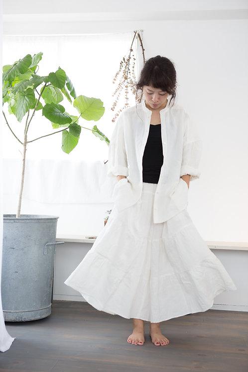 ベルギーリネン ティアードキュロット(受注製作)color white