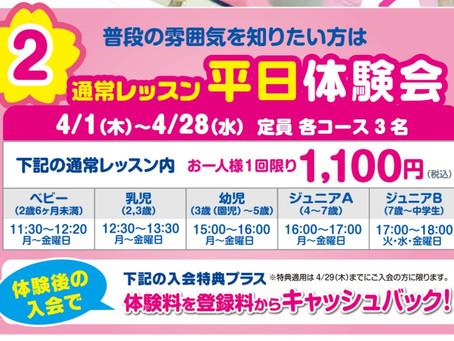 【ジュニアスイミング】4月平日体験会のお知らせ