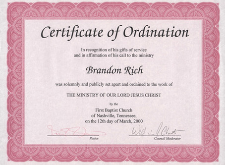 The Ordination of Rev. Brandon Rich