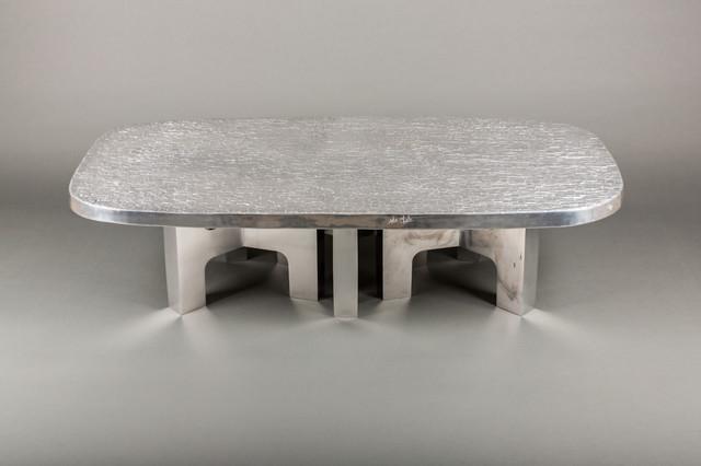 """""""Relief d'agate polie"""" 144cm x 73cm Piétements en aluminium poli """"miroir"""" Existe en différents formats"""