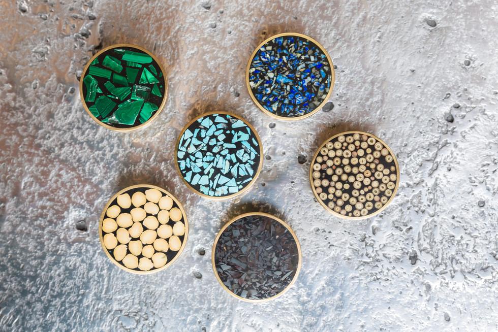 Boutons de portes Mosaïque de pierres semi-précieuses Mosaïque de grains de poivre d'Indonésie Mosaïque de pois chiche d'Asie du Sud-Ouest