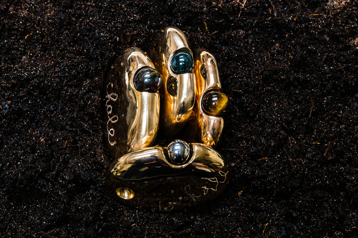 Galets en bronze Perle de pierre semi-précieuse