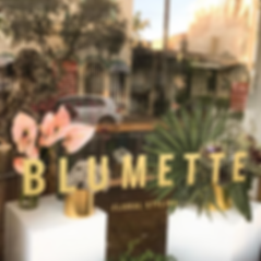 Blumette window signage