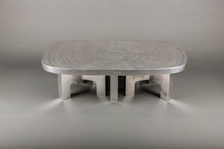 """""""Goutte d'eau"""" 120cm x 70cm Piétements en aluminium poli """"miroir"""" Existe en différents formats"""
