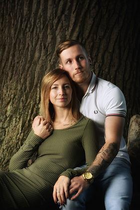 A portrait photograph of a young couple