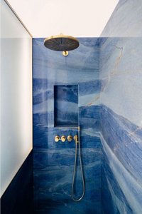 Natural Blue marble shower recess