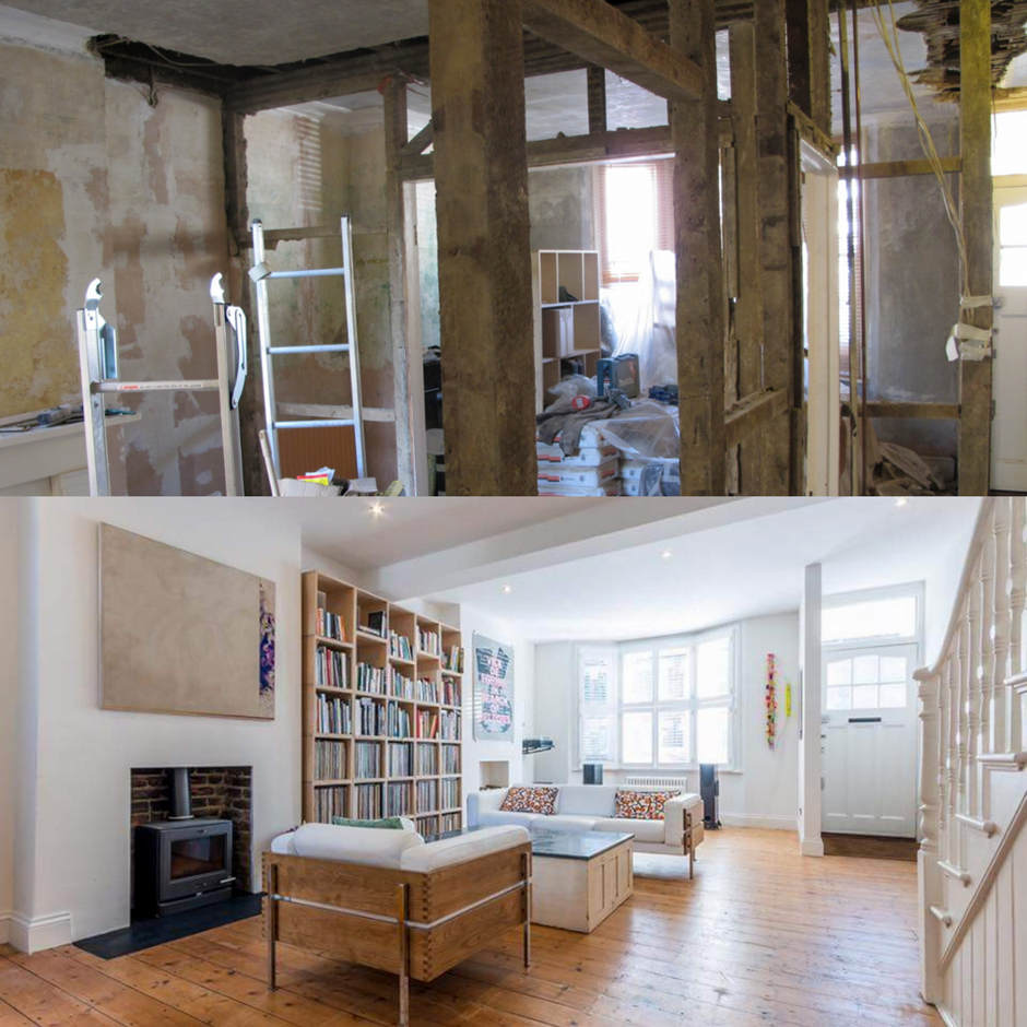 Removal of existing walls to create open space in a 3 bedroom house in Peckham.