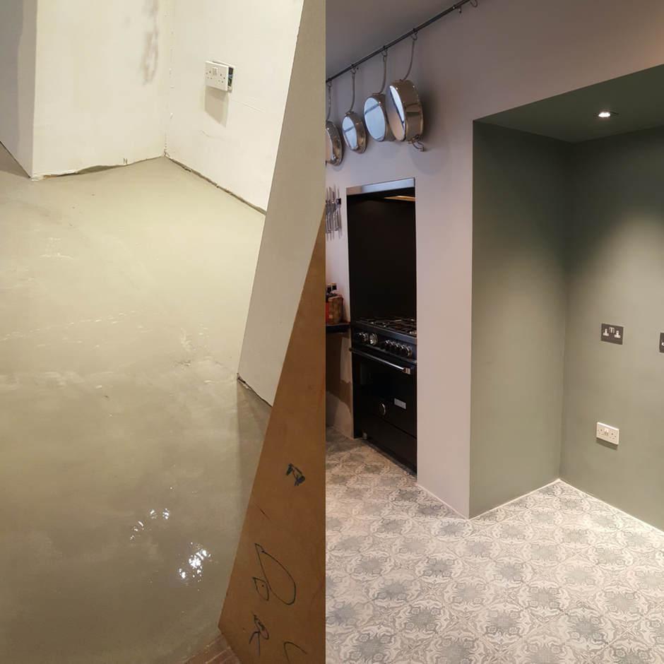 Tiling kitchen floor in Chelsea.