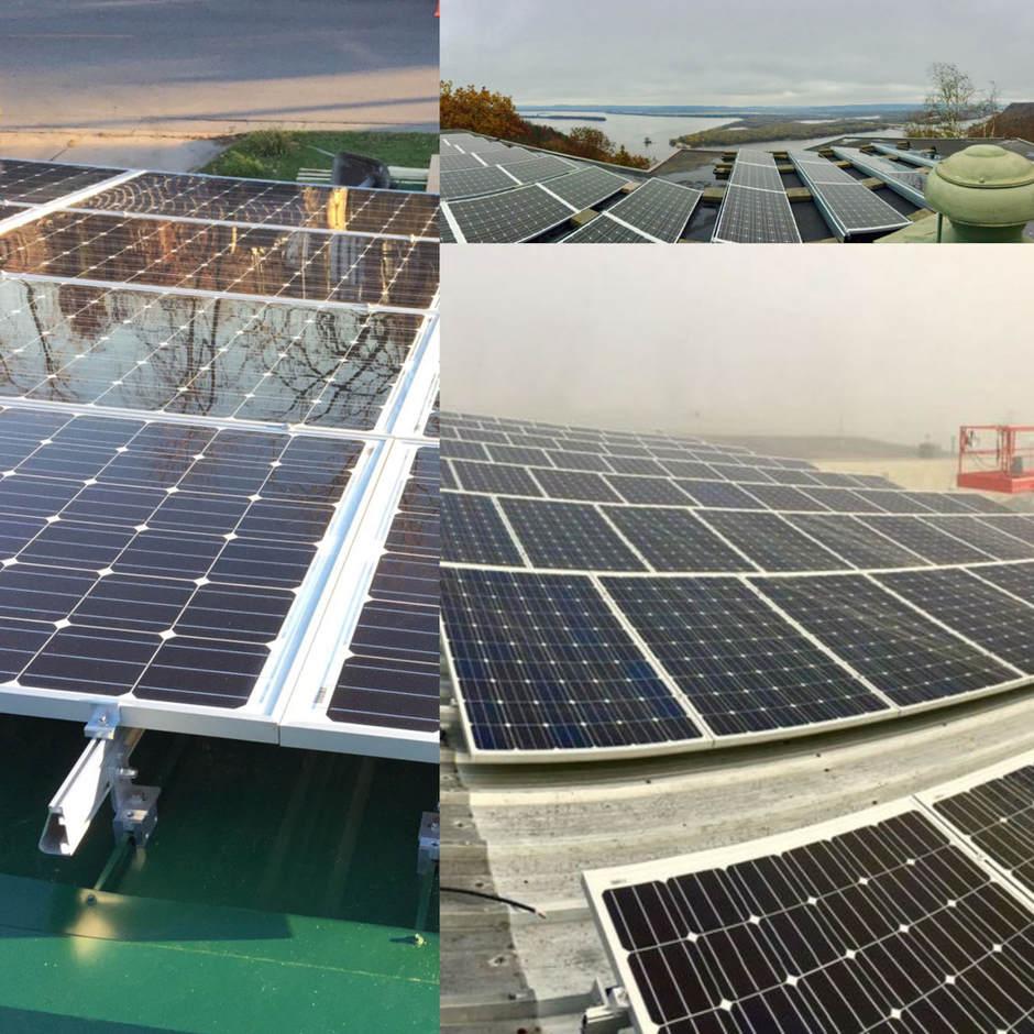 Fitting solar panels in Minnesota.