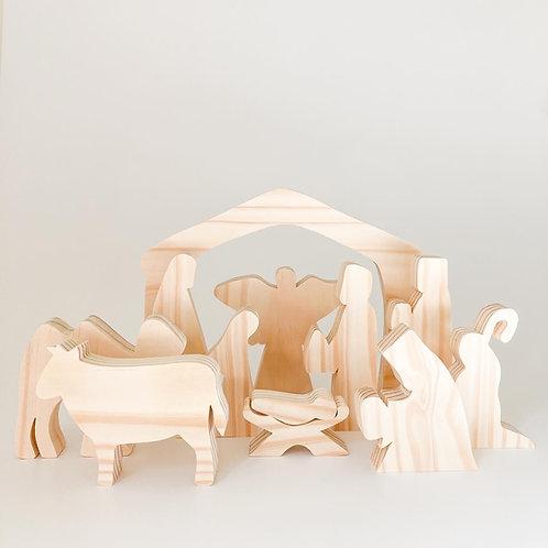 Nativity Scene - natural (wooden)