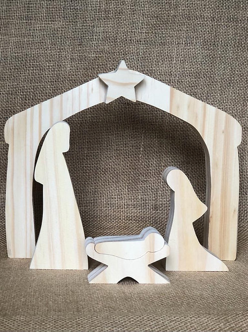 Nativity Scene Stable - natural (wooden)