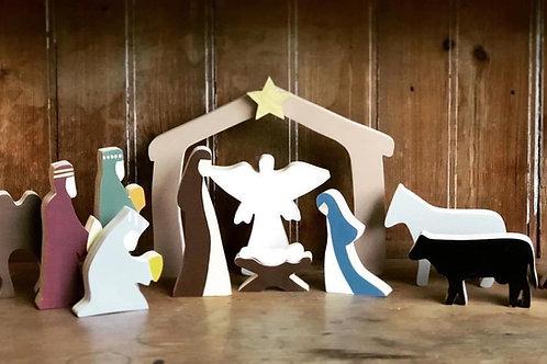 Nativity Scene - Painted (wooden)