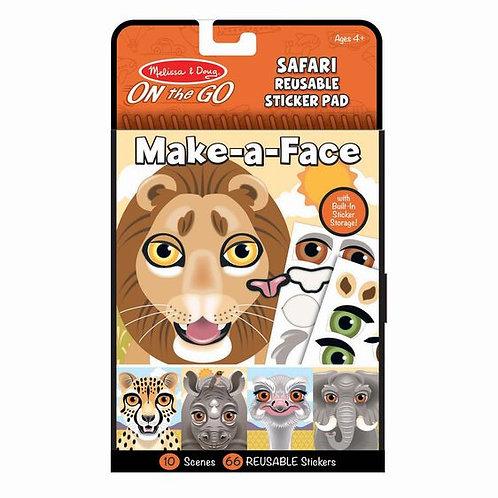 Reusable Sticker Pad - Make a Face - Safari