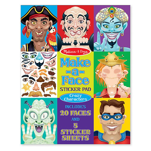 Sticker Pad - Make-a-Face - Crazy Characters