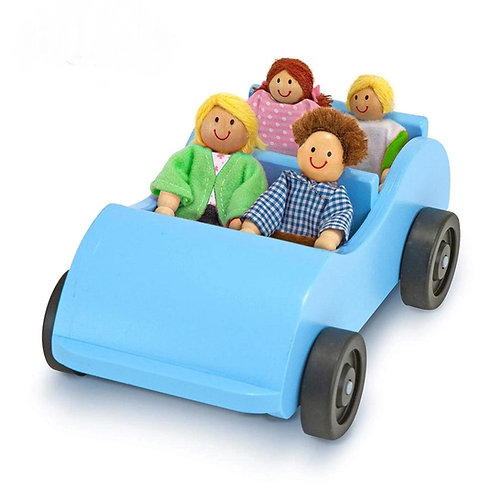 Wooden Car and Pose-able Passengers