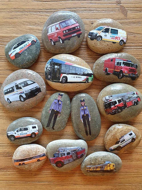 Story Stones - Transport: South African road vehicles and people (14pc)