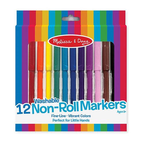 Non-Roll Fineline Markers (12pc)