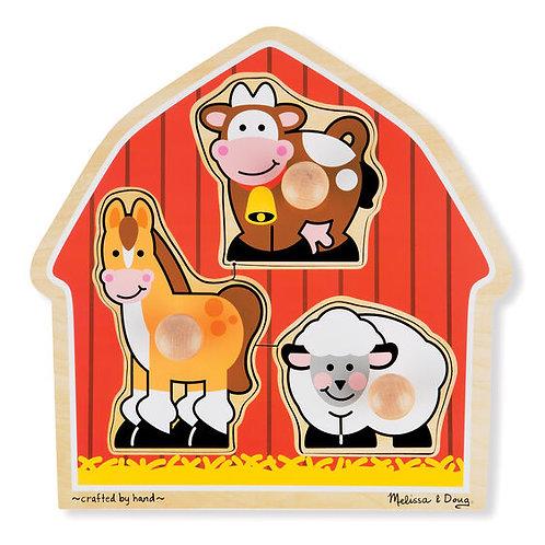 Barnyard Animals Jumbo Knob Puzzle (3 pc)