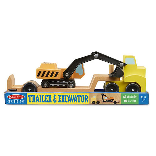 Flatbed Trailer and Excavator