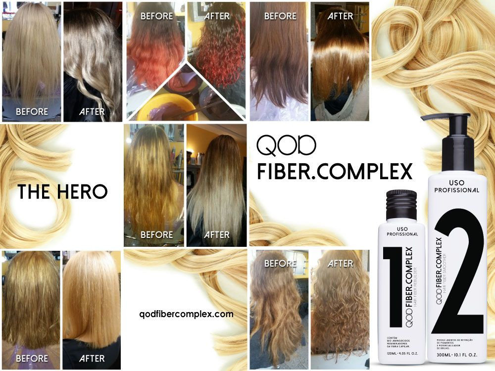 Photos of before and after of models using QOD Fiber Complex when coloring their hair.