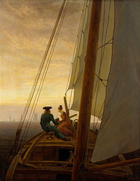 On a Sailing Ship by Caspar David Friedrich; oil on canvas, between 1818 and 1820