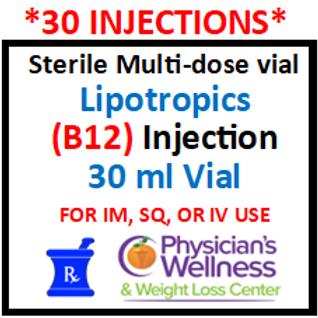 B-12 Injections 30ml. Vial (Methylcobalamin) with Lipotropics