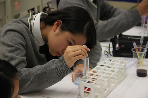 Secondary student conducting a science e