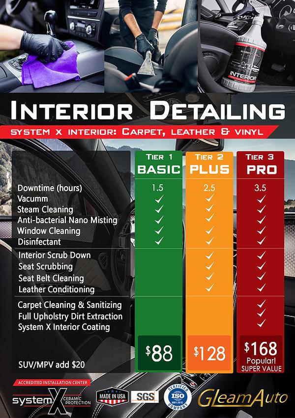 Interior Detailing Service Menu (3 tiers