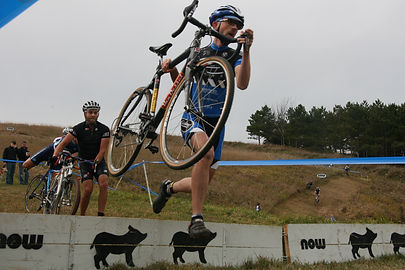 Adam Rambow negotiating the pig barriers. ToddFawcettPhotography.com