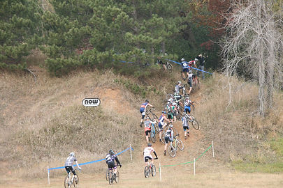 Racers stack up through the original run-up. ToddFawcettPhotography.com