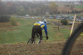 The grass switchback decent in year one of Green Acres Cross. Photo credit Adam Emanoff