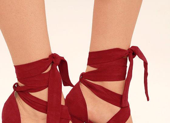 Suede Lace-Up Platform Heels