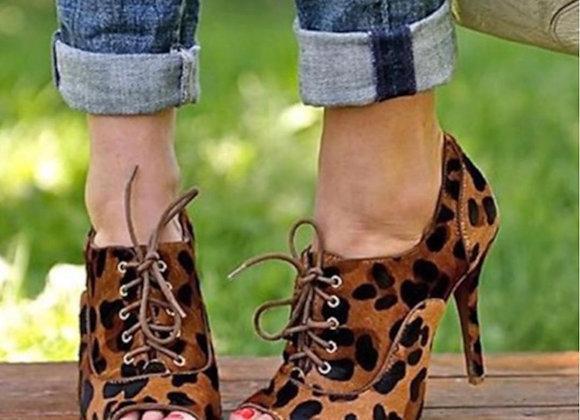 Truffle Leopard Print Peep Toe