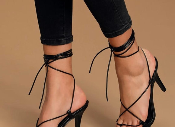 Alexa Black Square Toe Lace-Up Heels