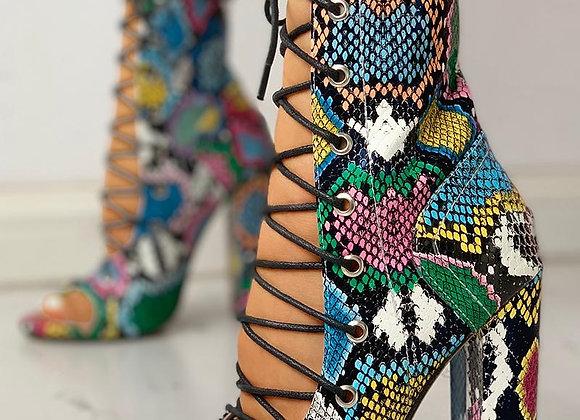 Multi Color Block Heal Sandal