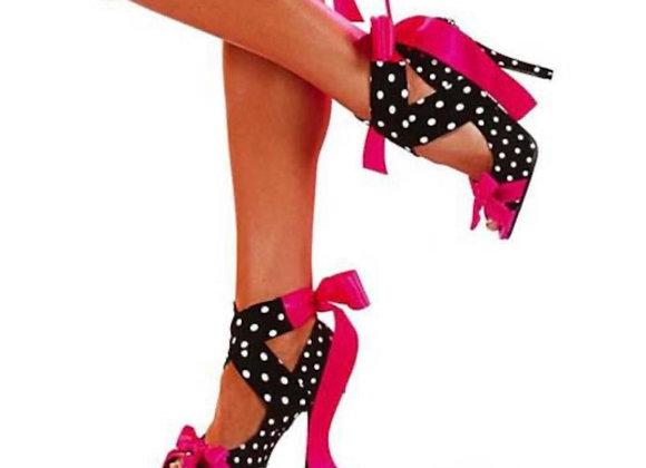 Lace-Up Polka Dot Stiletto