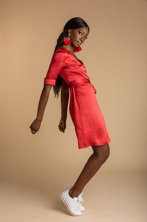 Angela Wrap Dress - Poppy Red