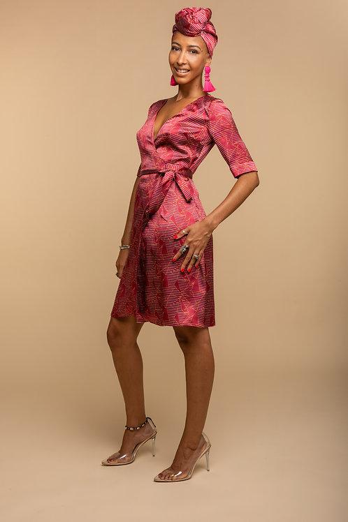 Angela Wrap Dress - Fuchsia