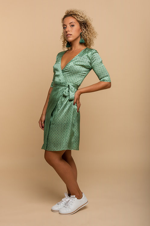 Angela Wrap Dress - Almond Green