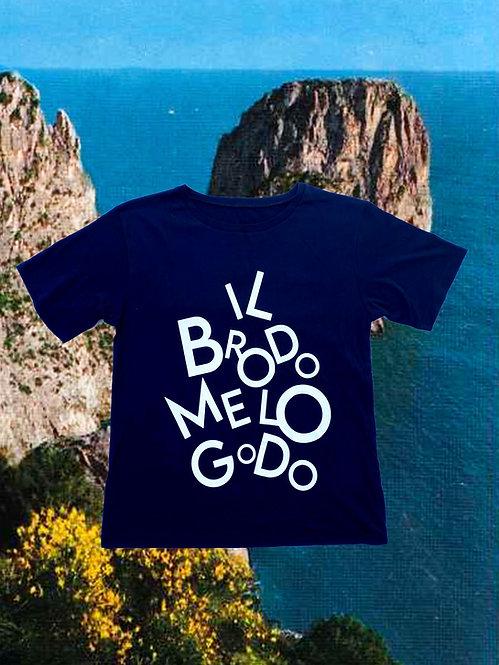 T-shirt IL  BRODO ME LO GODO  blue + bianco