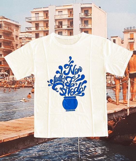 T-shirt NON TUTTO FA BRODO white + azzurro