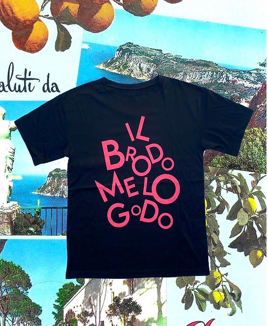 T-shirt IL  BRODO ME LO GODO  black +rosa