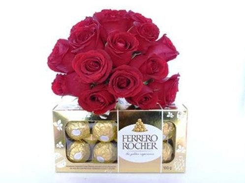 Buquê 15 Rosas colombianas e Ferrero
