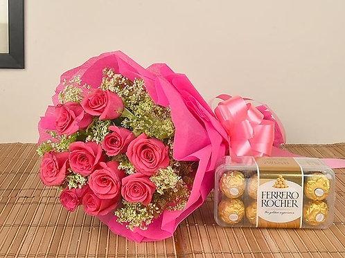 Buquê de Rosas com Ferrero