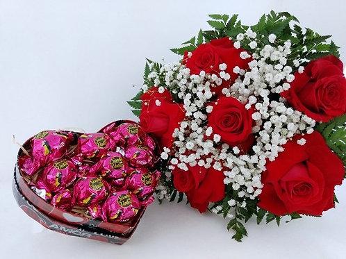 Buquê 1/2 dz Rosas + Bombons