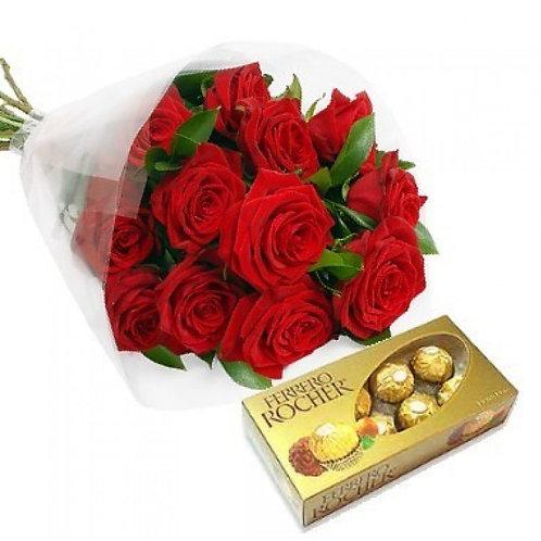 12 Rosas colombianas  e Ferrero.